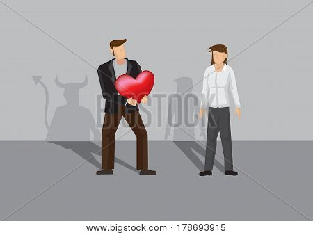 Cartoon man with shadow of devil holding out heart shape to woman. Vector illustration for concept on deception in romance and relationship.