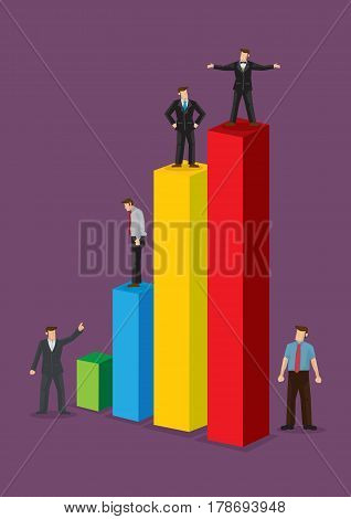 Tiny businesspersons standing on colorful business bar chart. Creative vector illustration isolated on violet background.