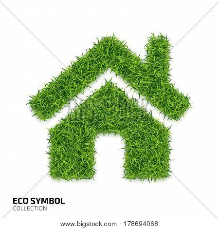 House icon from green grass. Eco house icon isolated on white background. Symbol with the green lawn texture. Ecology symbol collection. Vector illustration
