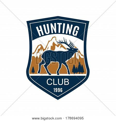 Hunting club badge of heraldic shield with deer on mountain and forest landscape background. Antler hunting, hunter sporting club symbol design