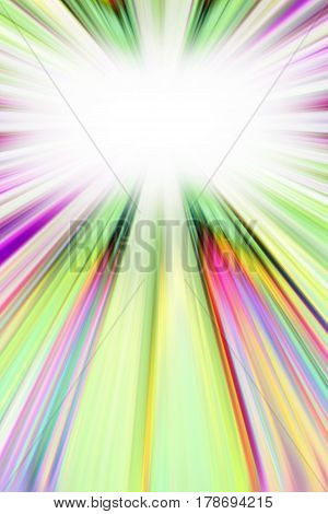 Colourful pink green and yellow starburst light trails with white copy space