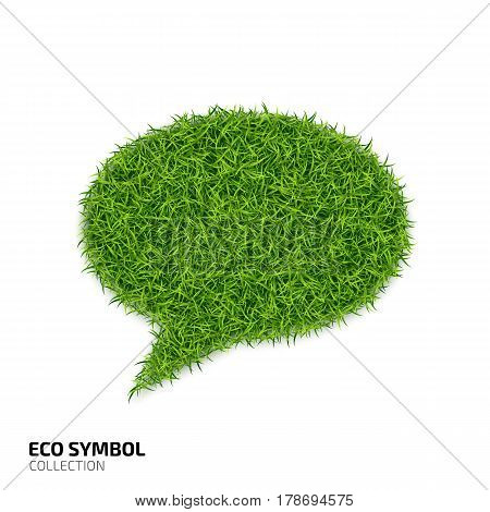 Dialog icon from green grass. Eco chat icon isolated on white background. Symbol with the green lawn texture. Ecology symbol collection. Vector illustration