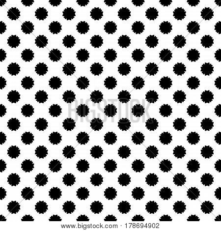 Vector seamless pattern, simple floral geometric texture, black staggered flower silhouettes on white background. Abstract illustration, repeat tiles. Old style design for prints, decor, textile, web