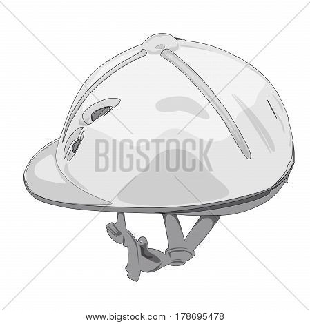 Outlined riding helmet. Isolated jockey protection on white background. Dirty, realistic object from equestrian enviroment with horses. Horse racing equipment. Flatten isolated master vector illustration