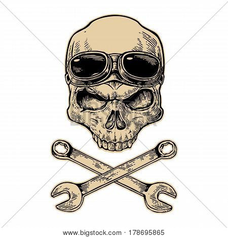 Skull smiling with glasses for motorcycle on forehead and wrench. Black vintage vector illustration. For poster and tattoo biker club. Hand drawn design element isolated on white background
