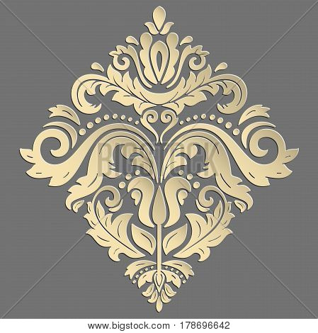 Oriental vector glden pattern with arabesques and floral elements. Traditional classic ornament. Vintage pattern with arabesques