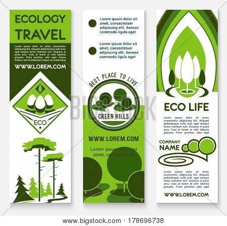 Ecology banner template set. Eco travel, green building and architecture, landscaping, eco friendly business and sustainable living posters with nature landscape of forest and park green trees
