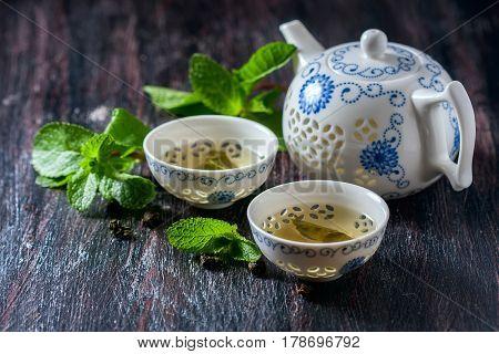 Chinese Tea Set, Green Tea And Fresh Mint.