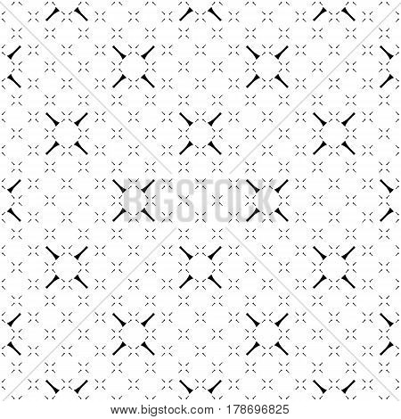 Vector minimalist seamless pattern, simple monochrome geometric texture. Diagonal thin lines, repeat tiles, crosses. Abstract black & white background. Light design for decor, digital, web, textile, fabric, cloth