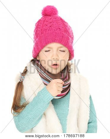Sick little girl with cough isolated on white