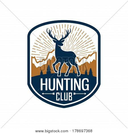 Deer hunting badge. Hunt club heraldic emblem of shield with buck or stag silhouette on mountain landscape background, decorated by arrows. Hunting sport themes design