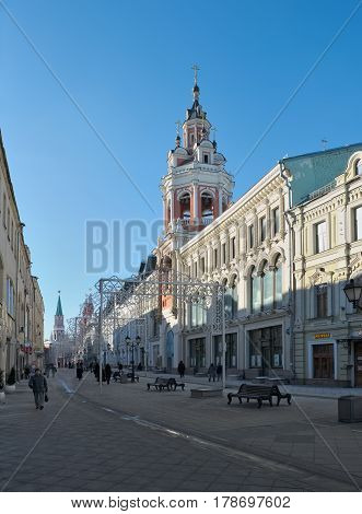 MOSCOW, RUSSIA - FEBRUARY 6, 2017: Nikolskaya Street in Moscow view of the Spassky Cathedral of the Zaikonospassky Monastery founded in the 15th century