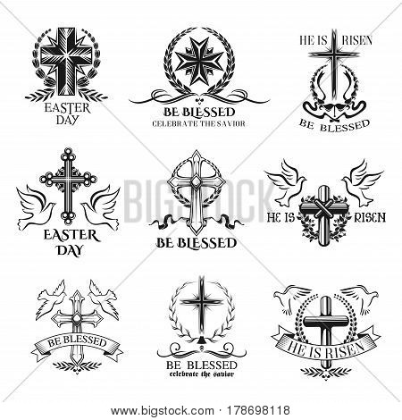Easter celebration badge set with cross. Christian religion church symbol of crucifix cross with floral wreath frame and ribbon, flanked by dove birds. Easter holiday greetings label design