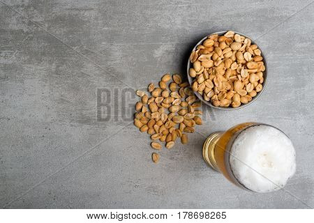 Glass Of Beer And Peanuts