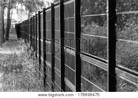 Fencing made of metal mesh to protect the territory.