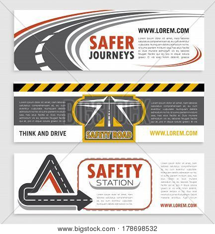 Road and traffic safety banner template set. Highway road turn, crossroad and freeway intersection symbols with warning tape for transportation company and travel agency flyer, brochure design