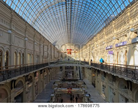 MOSCOW, RUSSIA - FEBRUARY 6, 2017: State Department Store (GUM) the largest shopping center in Moscow on Red Square 1893 landmark