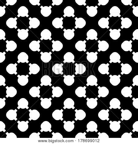 Simple monochrome vector texture, floral geometric seamless pattern. White flourish figures on black background, circles & lines, diagonal array. Dark abstract design for prints, textile, decoration, furniture, web