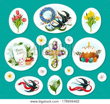 Easter egg sticker and label set. Easter egg with cake, rabbit bunny with egg hunt basket, floral cross, spring flower wreath and bunch of tulip, lily and narcissus, swallow bird with ribbon banner