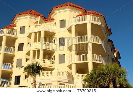 One of the many condos that typically line the beach.