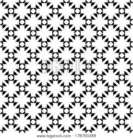 Vector monochrome seamless pattern. Black & white illustration with carved figures. Modern background, repeat tiles. Endless light abstract backdrop with repeat ornamental texture. Stylish design element for prints, decoration, textile, fabric