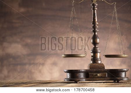 Law concept. Lawyers office.  Scale of justice.