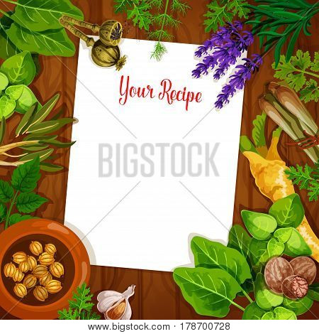 Herbs and spices with blank recipe paper on wooden background. Fresh basil, rosemary, parsley, cardamom, garlic, dill, nutmeg, celery, poppy, lemongrass, sorrel and lavender on table with copy space