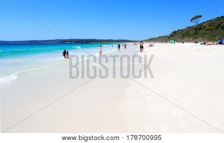JERVIS BAY AUSTRALIA - 25 DECEMBER 2016; Tourists and holidaymakers enjoy the sunshine and pristine beaches of Jervis Bay. Hyams Beach