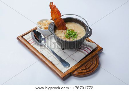 Chowder With Vegetables And Mashed Potatoes