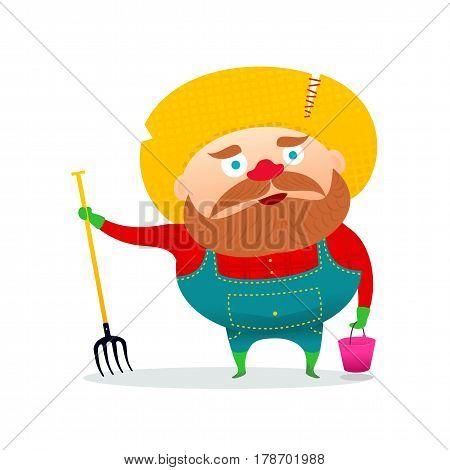 Vector Illustration Of A Funny Farmer