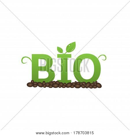 Green Bio text. Organic and natural products concept