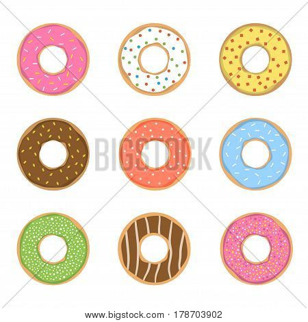 Sweet donut set. Glazed colored donuts with icing sprinkles