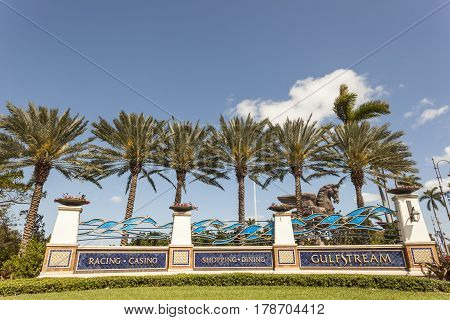 HALLANDALE BEACH USA - MAR 11 2017: Entrance gate to the Gulfstream Park in Hallandale Beach Florida United States