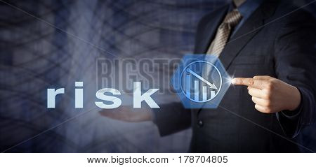 Male blue chip consultant is activating a virtual button displaying a negative growth trend icon. Business metaphor for risk reduction and risk management. Contemporary architectural background.