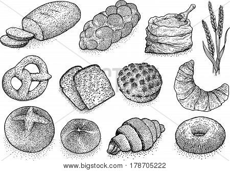 Bakery products illustration, drawing, engraving, ink, line art