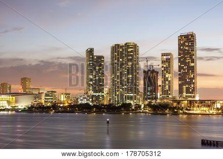 Miami downtown skyline illuminated at night. Florida United States