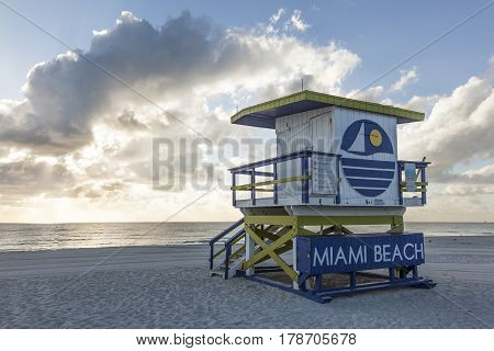 MIAMI USA - MAR 10 2017: Art Deco life guard tower at the Miami South Beach. Florida United States