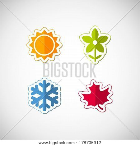 Vector season icons. Four seasons icon symbol vector illustration. Weather