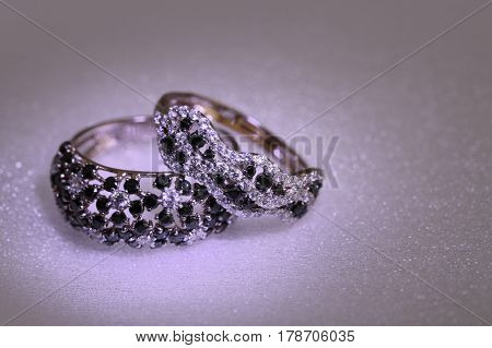 Elegant  Ring With White And Black Brilliants