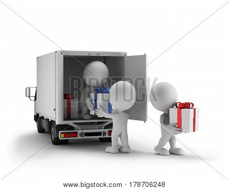 People unload a car with gifts. 3d image. White background.