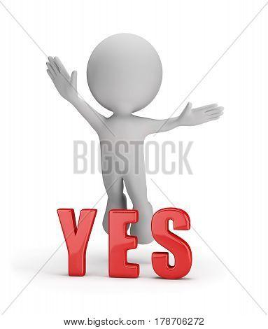 3d man rejoices success. 3d image. White background.