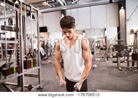 Young hispanic muscular body builder working out in gym on a cable machine, doing cable fly exercise for better definition of his arm muscles.