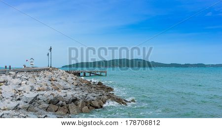 Abandoned concrete pier at Khao Laem Ya  National Park , Rayong , Thailand