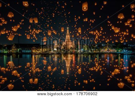 Floating lamp in yee peng festival at wat arun, Bangkok, Thailand