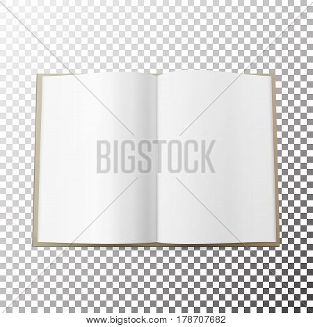 Open Magazine Spread Blank Vector. Simple Mock Up Template Lying. Front View. Soft Shadow.
