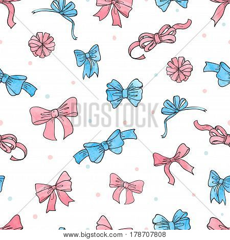 Bow seamless pattern. Vector background with pink and blue bows and ribbons.