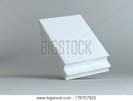 Blank two empty books on grey studio background. Empty place for your content. 3D Illustration