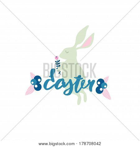Easter banner with rabbit. Eater handlettering. Spring floral composition.Greeting background.Vector Illustration