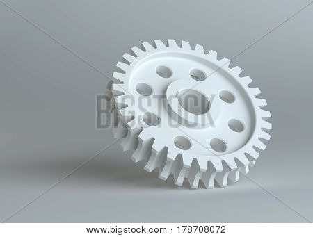 White gear on grey studio background. 3D Illustration