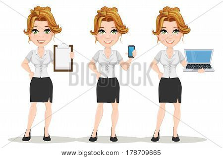 Young cartoon businesswomen. Set. Beautiful smiling girl in working situations. Fashionable modern lady holding blank clipboard holding smartphone and holding laptop. Vector illustration. EPS10